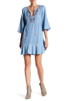3/4 Length Sleeve Embroidered Denim Shift Dress