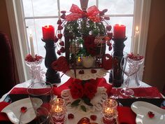 Valentine's tablescape - lots of close-up pics