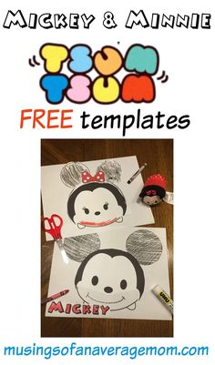 Mickey and Minnie Tsum Tsum craft with free printables. Daycare Crafts, Toddler Crafts, Preschool Crafts, Crafts For Kids, Mickey Printables, Free Printables, Free Activities, Toddler Activities, Mickey Mouse Crafts