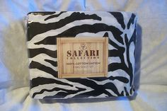 10% OFF SALE!! SAFARI COLLECTION ZEBRA STRIPE KING SHEET SET THREAD COUNT 300 $53.99 COTTON SATEEN NIP
