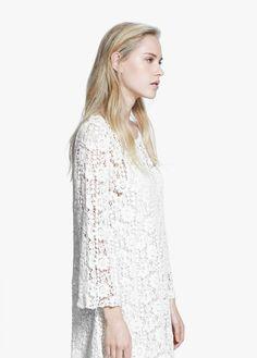 Šaty z bavlněné krajky guipur | MANGO