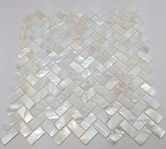 Genuine Mother of Pearl Oyster Herringbone Shell Mosaic Tile for Kitchen Backsplashes, Bathroom Walls, Spas, Pools