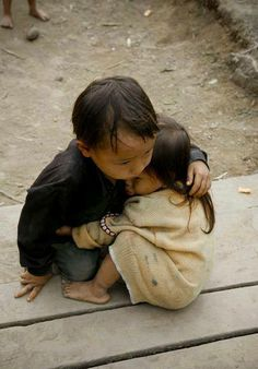comforting his sister , I pray they have food to eat & clean water to drink