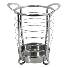 InterDesign Axis Round Utensil Holder, Chrome by InterDesign. $18.99. Looks great in any kitchen. Has 2 handles to easily move the holder. Large enough to hold all your kitchen essentials. Sits on 4 feet. Fabulous utensil holder. This fabulous round utensil holder looks great in any kitchen. It is large enough to hold all your essential utensils. The holder sits on 4 feet for support and has 2 handles at the top so you can easily move the item.