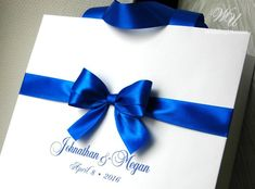 Elegant Wedding Welcome Bags with Royal Blue satin ribbon, bow and your names - Personalized Bags fo Elegant Wedding Favors, Wedding Gift Bags, Best Wedding Favors, Wedding Favor Boxes, Wedding Favors For Guests, Chic Wedding, Trendy Wedding, Blue Wedding, Wedding Ideas