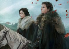 Game of Thrones- Jon Snow and Robb Stark Fan art John Snow, Jon And Arya, Indigo Eyes, Arte Game Of Thrones, Margaery Tyrell, King In The North, Natsume Yuujinchou, World Of Fantasy, Sansa Stark