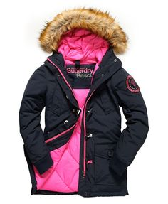Womens - Everest Duffle Coat in Navy/pop Pink | Superdry