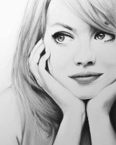 Emma Stone | Charcoal on Paper | 594*420mm : Art
