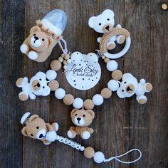 PDF patterns My little Bear - Stroller Chain, Baby Rattle, Pacifier Chain an. -Set PDF patterns My little Bear - Stroller Chain, Baby Rattle, Pacifier Chain an. Baby Boy Knitting, Crochet Baby Toys, Crochet Bunny, Hat Crochet, Crochet Bear Patterns, Pdf Patterns, Baby Patterns, Newborn Knit Hat, Jungle Theme Parties