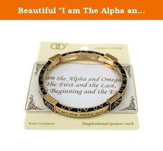 """Beautiful """"I am The Alpha and Omega"""" Christian Gold Tone Stretch Bracelet. Mom, Daughter, Sister, Best Friend, Grandma, Inspirational, Girl, Woman, Pandora Style, Morano Beads, Magentic, Stretch, Lobster Clasp, Bangle, Cuff, Bangle, Cute, Girl, Breast Cancer, Animal, Garden, Sea Life, Christian, Family Theme, Pink is the color of Strength, The ribbon is a symbol of Hope, Together it is a sign of Victory. School Teacher, Animal, Garden, Salt Life, Dolphin, Whale, Sand Dollar, Anchor…"""