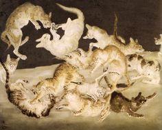 Cat fight Artist: Tsuguharu Foujita Completion Date: 1940 Style: Magic Realism Genre: animal painting Animal Paintings, Animal Drawings, Asian Cat, Magic Realism, Japanese Painting, Japan Art, Tokyo Japan, Japanese Artists, Artist At Work