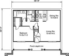 First Floor Plan of House Plan 85358 24 x 48 1 bedroom, lots of ...