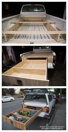 This man built a custom truck camper with one huge drawer. What a great way to save space and maximize living room in a truck camper. Truck Bed Camping, Truck Camping, Camping Gear, Camping Hacks, Outdoor Camping, Camping Setup Ideas, Truck Topper Camping, Truck Bed Tent, Camping Canopy