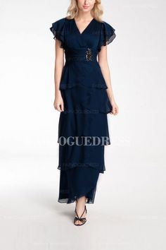 Sheath/Column V-neck Ankle-length Chiffon Mother of the Bride Dress