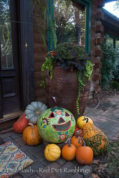 Talavera pumpkins and other fall decorations. | Red Dirt Ramblings