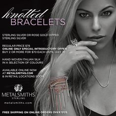 Unique and Chic knotted bracelets in sterling silver  rose gold dipped sterling silver with hand woven italian silk - get yours now at metalsmiths.com or in retail locations soon!