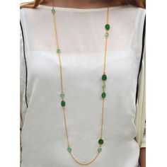 Cuff and Stone Extra Long Aqua Calcite and Green Onyx Gold Link Necklace