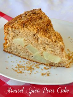 Streusel Spice Pear Cake - a delicious weekend brunch pear and spice coffee cake with a crunchy streusel topping that's also delicious made with apples if no pears are available.