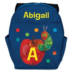 ed0a0bb1cd35 Very Hungry Caterpillar Initial Blue Youth Personalized Backpack - All  Backpacks - School Supplies