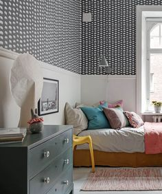Incredibly charming family apartment in Gothenburg, Sweden - Paul & Paula White Wooden Floor, Elephant Wallpaper, Gothenburg Sweden, Cute Desk, Family Apartment, Big Windows, Modern Kitchen Design, Scandinavian Interior, Home And Family