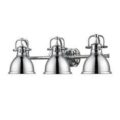 Golden Lighting Duncan Chrome Three Light Vanity Fixture On SALE