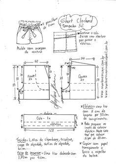 Short moClochard - DIY - molde, corte e costura - Marlene Mukai Sewing Shorts, Diy Shorts, Sewing Clothes, Diy Clothes, Skirt Sewing, Fabric Sewing, Dress Sewing Patterns, Sewing Patterns Free, Clothing Patterns