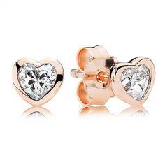 Pandora Classic Heart Rose Stud Earrings U090
