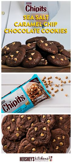 These CHIPITS Sea Salt Caramel Chip Chocolate Cookies are a salty and sweet twist on a classic. This easy recipe is made with delicious HERSHEY'S Cocoa and CHIPITS Sea Salt Caramel Chips, which give these tasty cookies a touch of extra flavour.
