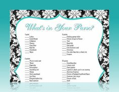 Purse Printable Bridal Wedding Shower Game by MadeByAPrincess, $7.00