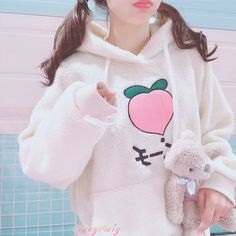 Peach Embroidery Lamb Wool Hoodie Sweatshirt sold by Tony Moly Store. Shop more products from Tony Moly Store on Storenvy, the home of independent small businesses all over the world. Harajuku Fashion, Kawaii Fashion, Cute Fashion, Fashion Outfits, Kawaii Sweater, Kawaii Hoodie, Cute Comfy Outfits, Pretty Outfits, Cool Outfits