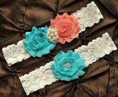 Wedding Garter Set, Bridal Garter Set - Ivory Lace Garter, Keepsake Garter, Toss Garter, Shabby Chiffon Rosette Coral Aqua Wedding Garter. $22.00, via Etsy.