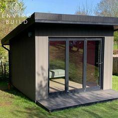 This petite garden cabin offers the perfect garden getaway. 📷: S.Carey Composite Cladding, Composite Decking, Garden Studio, Home Studio, Builders Merchants, Garden Pods, Garden Cabins, Sustainable Building Materials, Floors And More
