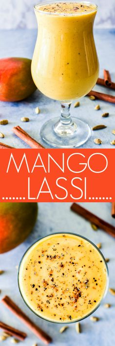 Mango Lassis are a rich, creamy drink made with yogurt, fresh mango, and a pinch of cardamom. Like a mango smoothie... but even better! Healthy Breakfast Smoothies, Easy Smoothies, Smoothie Recipes, Breakfast Recipes, Dinner Recipes, Mango Recipes, Juice Recipes, Drink Recipes, Yummy Recipes