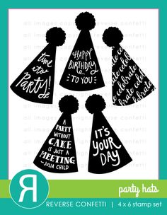 Celebrate good times with this stamp set featuring 5 party hats with perfect party sentiments!  This stamp set is perfect for cards and scrapbook pages, as well as DIY party décor and favors. Coordinating Confetti Cuts die set available.