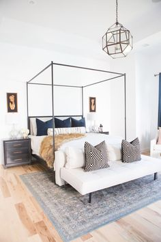 Custom Pillow Ideas from Little Design Co Pillow Shop - custom pillows, master bedroom design, canopy bed, canopy bed master bedroom, best pillow ideas, Circa lighting, circa lighting master bedroom, caged pendant lighting