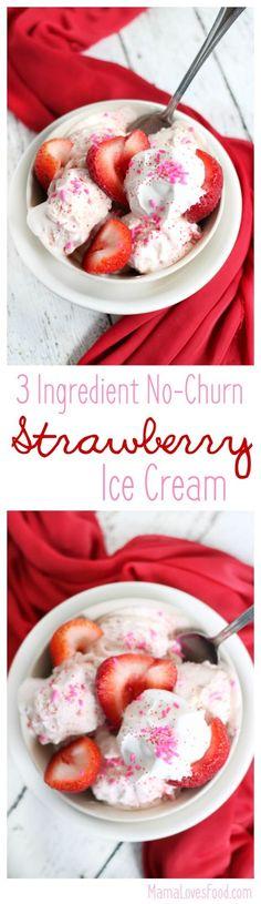 Three Ingredient No Churn Strawberry Ice Cream #ad #SundaeFundae