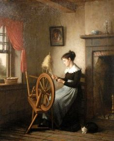 Platt Powell Ryder (American artist, Woman at Spinning Wheel Spinning Wool, Hand Spinning, Spinning Wheels, Spin Me Right Round, Art Du Fil, Knit Art, Weaving Art, American Artists, Fiber Art