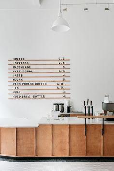 Design-Inspiration für die Kaffee- und Verkaufstheke in einem Coworking Space.
