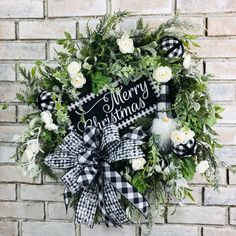 Black and white buffalo plaid gnome wreath,farmhouse gnome wreath, Christmas wreath by AngelbugwreathsLLC on Etsy Christmas Wreaths For Front Door, Summer Door Wreaths, Christmas Decorations, Christmas Gnome, Plaid Christmas, White Christmas, Welcome Wreath, Deco Mesh Wreaths, Buffalo Plaid