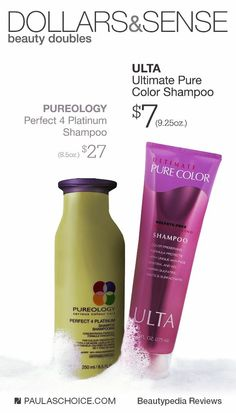 If you love Pureology Perfect Platium Shampoo, try Ulta's Ultimate Pure Color Shampoo for only $7! To learn more ways to save money, check out beautypedia.com #paulaschoice #haircare #productdupes