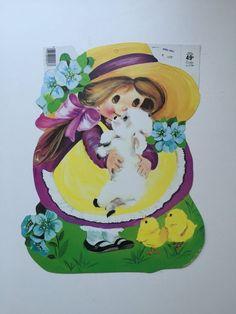 Vintage Easter Eureka Die Cut Cardboard Little girl with Lamb NEW