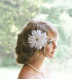 White Feather Fascinator Wedding Hair Accessories by FancieStrands, $52.00