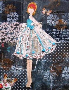 ~❥~ mm collage by Julie Nutting Mixed Media Canvas, Mixed Media Collage, Prima Doll Stamps, Paper Art, Paper Crafts, Art Textile, All Craft, Art Journal Inspiration, Altered Art