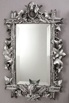 Pickering Fox and Hound Mirror in Antique Silver