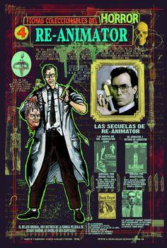 Ficha infográfica homenaje a Re-Animator. Dibujos y diseños míos