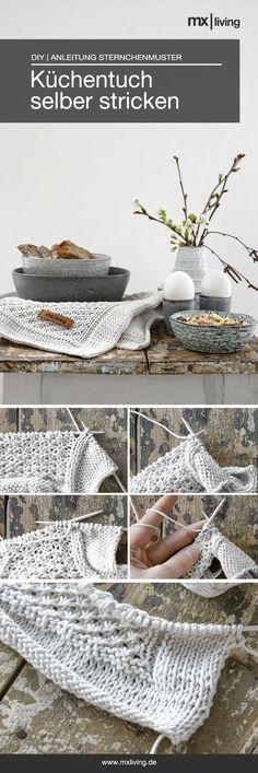 DIY   selbst gestricktes Küchentuch mit Sternchenmuster inklusive Anleitung