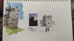 Pentel brush pen sketch with watercolour from Polaroid picture. Small lamy fountain pen sketch. Windsor Castle.