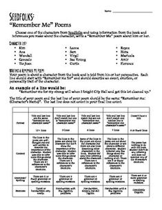 seedfolks by paul fleischman character chart graphic organizer pbl community graphic. Black Bedroom Furniture Sets. Home Design Ideas
