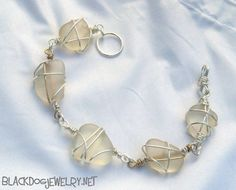 White Frosted Sea Glass Bracelet. $35.00, via Etsy.