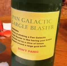 "DIY - ""Pan Galactic Gargle Blaster"" liquor (1 part lemon vodka, 1 part blue raspberry vodka, 1 part spiced rum & lemonade mix) - Hitchhikers Guide to the Galaxy"